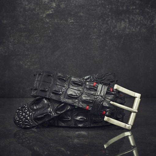 Fausto Colato Krokodilleder-Gürtel Sonderbreite 4,5 cm schwarz
