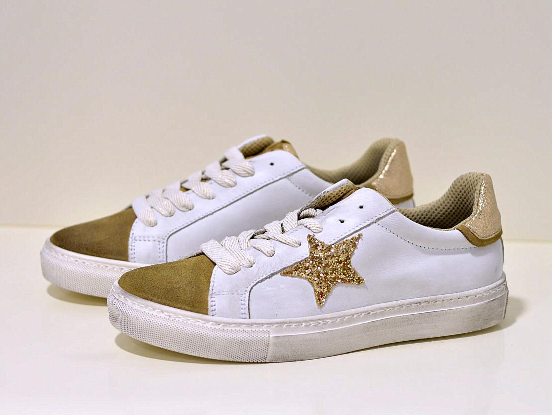 Keep Calm Leder Sneaker ein weiß mit goldenen Akzente