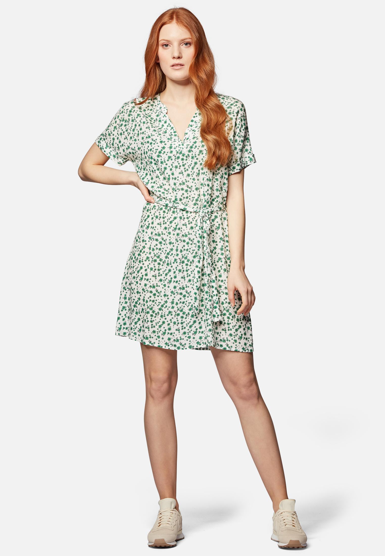Mavi KLEID | Kurzes Kleid mit floralem Print in grün